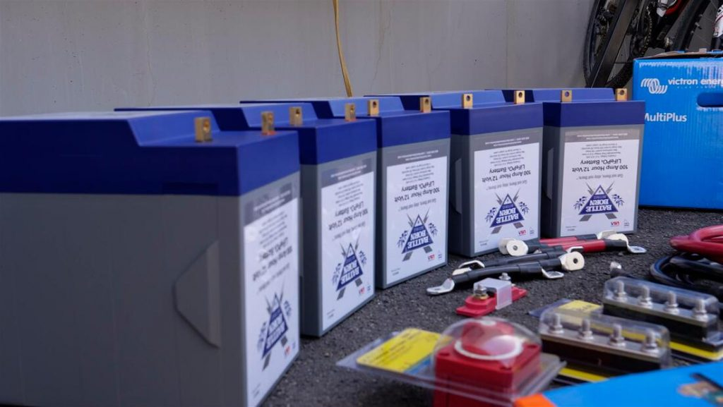 battle born batteries installed in the truck camper