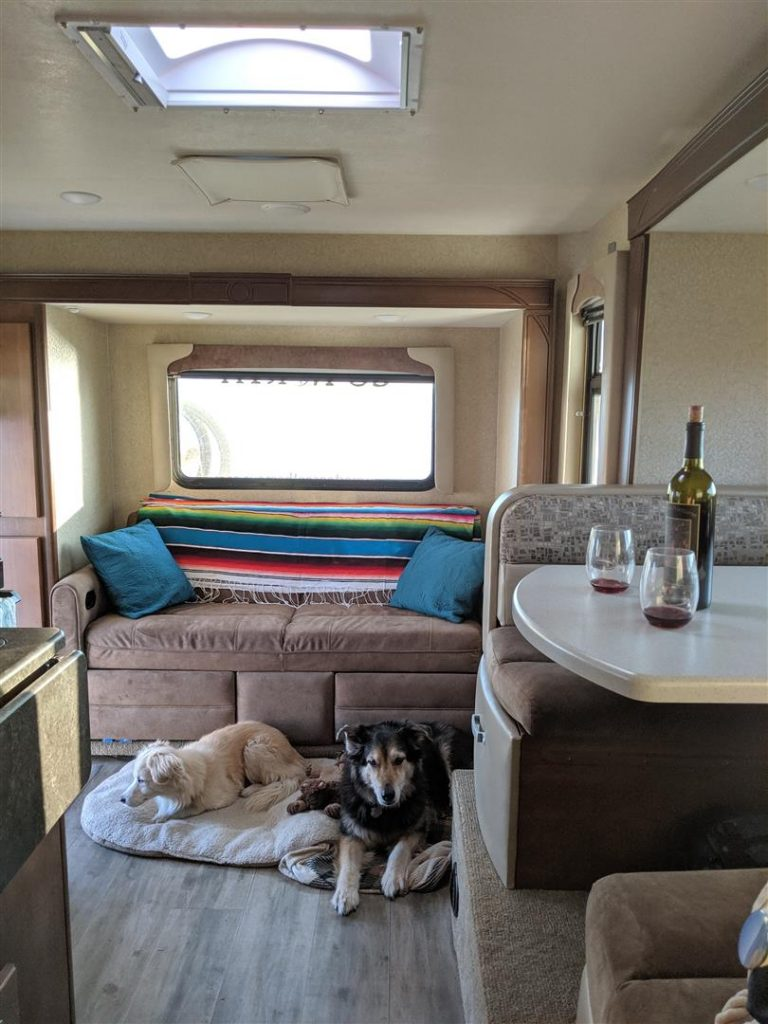 inside of the truck camper with dogs and wine