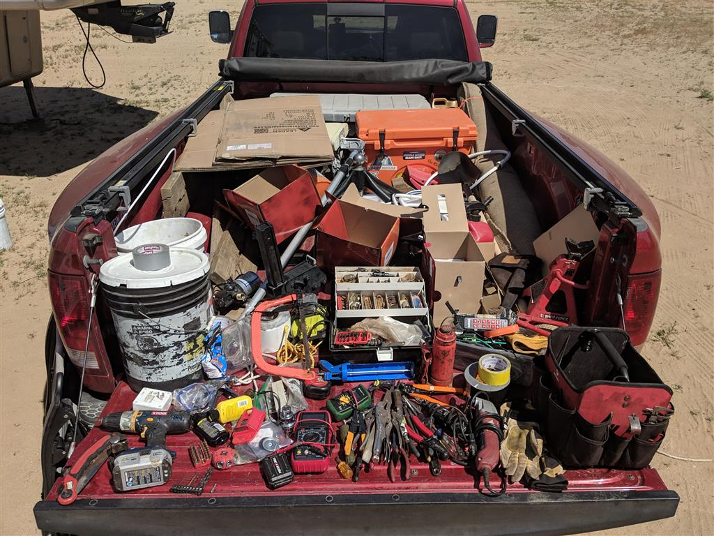 messy truck full of tools
